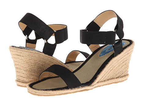Fitzwell - Malibu (Black Solid Elastic Fabric) Women's Wedge Shoes