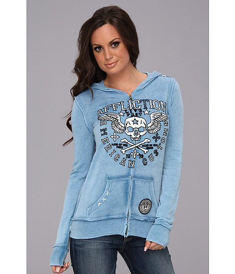 Affliction - Creeps Burnout Zip Hoodie (Pacific Blue Burnout Wash) Women