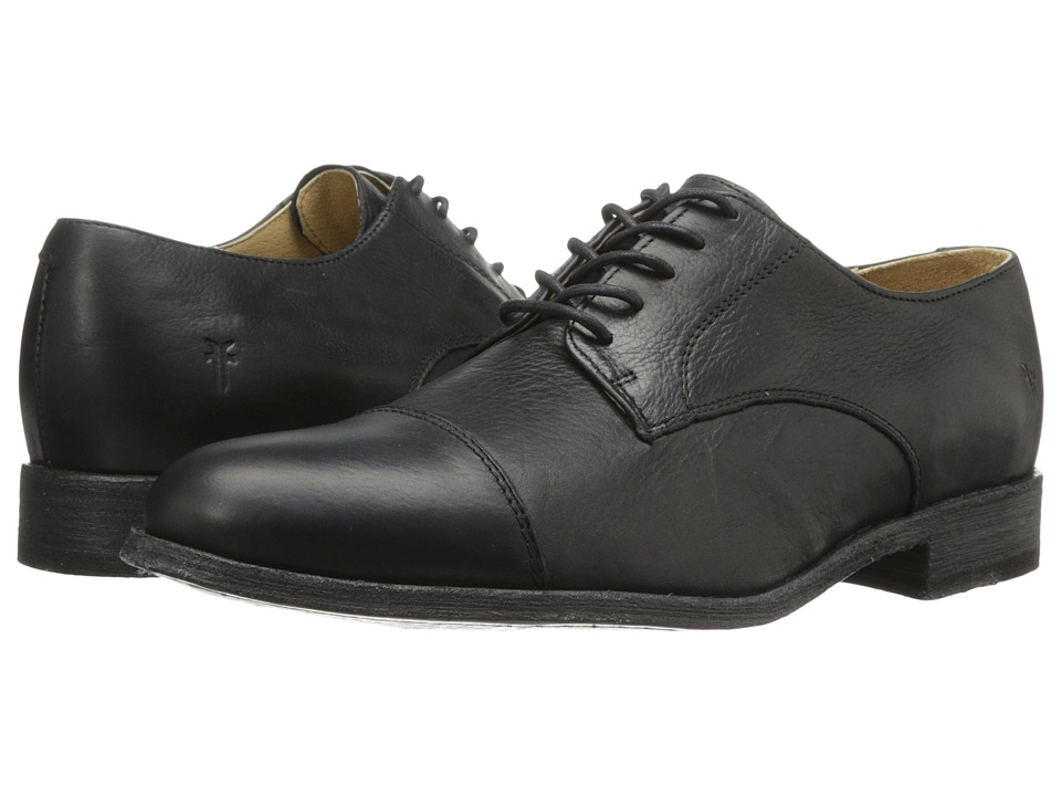 Frye Harvey Cap Toe (Black Soft Vintage Leather) Men