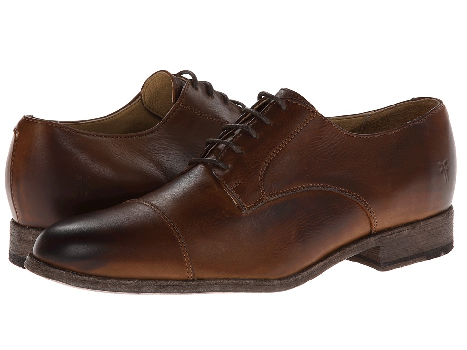 Frye - Harvey Cap Toe (Cognac Soft Vintage Leather) Men's Lace up casual Shoes