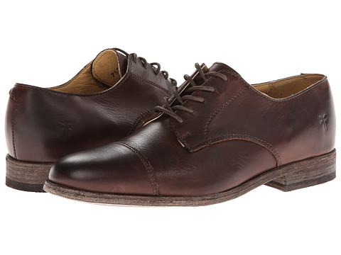 Frye - Harvey Cap Toe (Dark Brown Vintage Leather) Men's Lace up casual Shoes