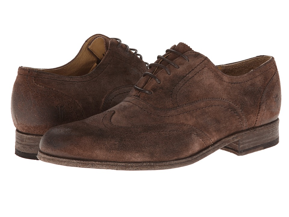 Frye - Harvey Wingtip (Chocolate Suede) Men's Lace Up Wing Tip Shoes