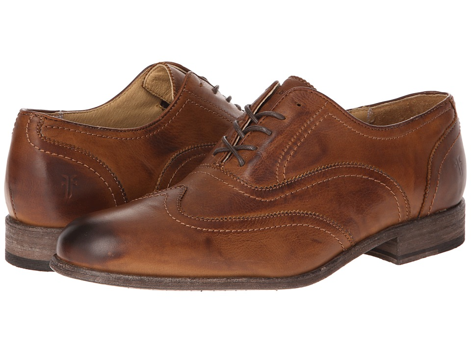 Frye - Harvey Wingtip (Cognac Soft Vintage Leather) Men's Lace Up Wing Tip Shoes