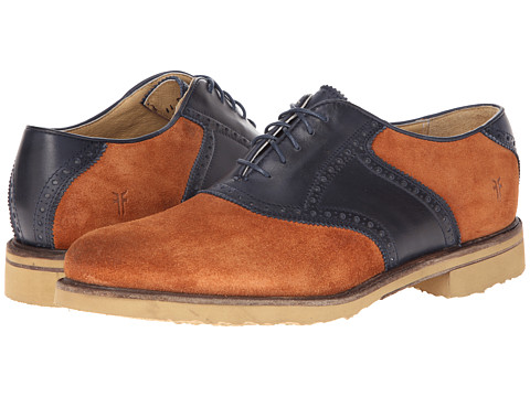 Frye - Jim Saddle (Cognac/Navy Suede) Men's Plain Toe Shoes