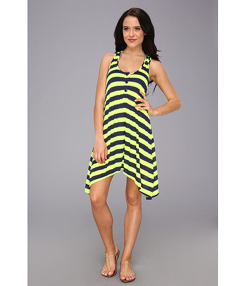 Splendid - Marcel Stripe Dress Cover-Up (Navy/Lime) Women's Swimwear