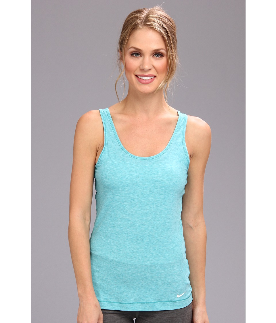 Nike - Pro Studio Tank Top (Aquamarine Heather/White) Women