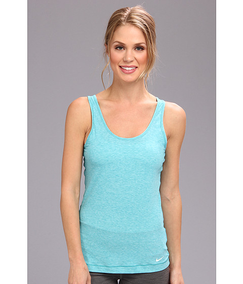 Nike - Pro Studio Tank Top (Aquamarine Heather/White) Women's Sleeveless