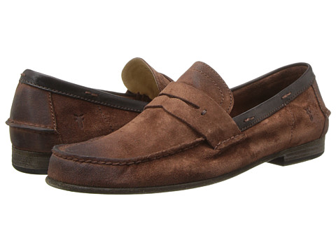 Frye - Lewis Leather Penny (Cognac Suede) Men's Shoes