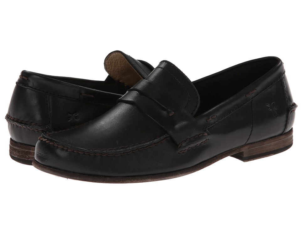 Frye - Lewis Leather Penny (Black Antique Pull Up) Men's Shoes
