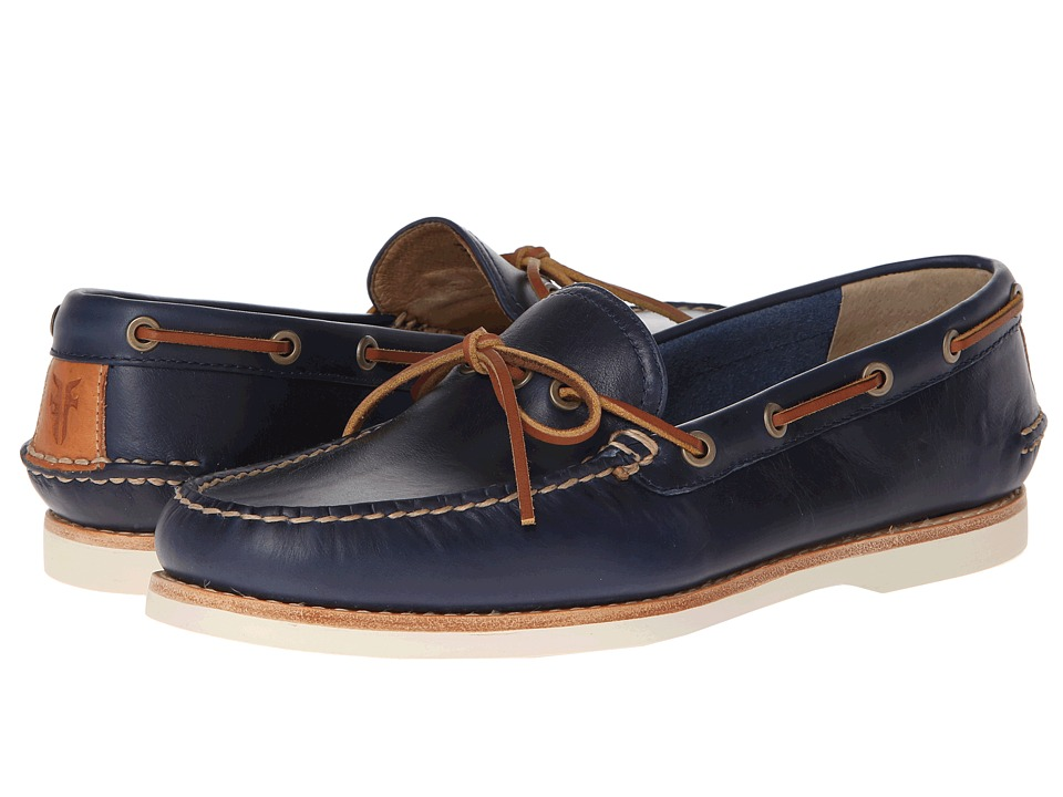 Frye Sully Tie (Navy Smooth Pull Up) Men