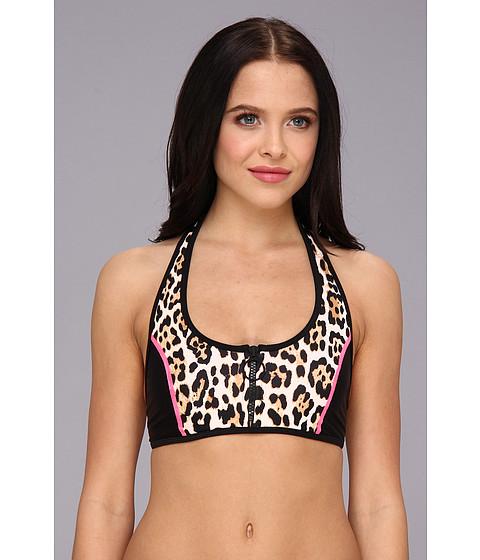 Juicy Couture - Wildcat Block Halter Bra (Black/Flo Pink) Women's Swimwear