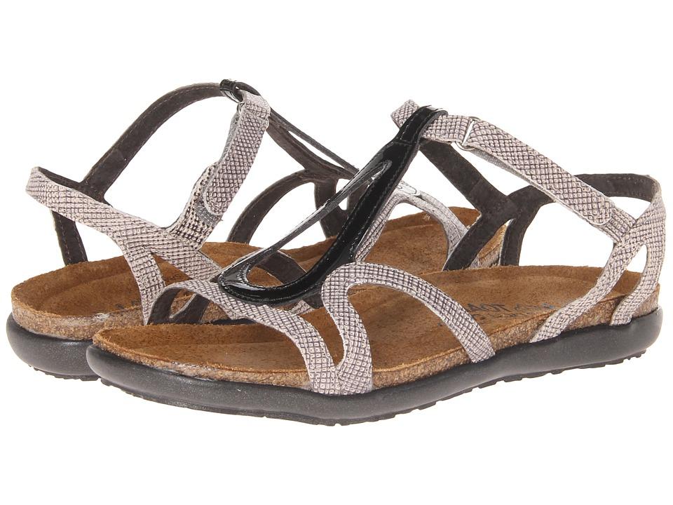 Naot Footwear - Dorith (Black Patent Leather/Fishnet Leather) Women's Sandals