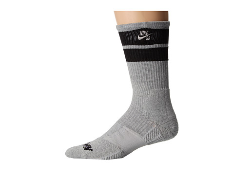 Nike SB - Elite SB Skate Crew Sock (Dark Grey Heather/Black/Black/Dark Grey Heather) Men
