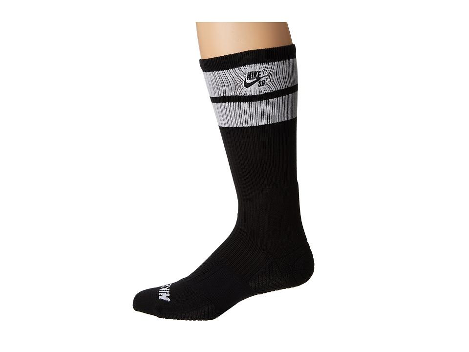 Nike SB - Elite SB Skate Crew Sock (Black/White/White/Black) Men