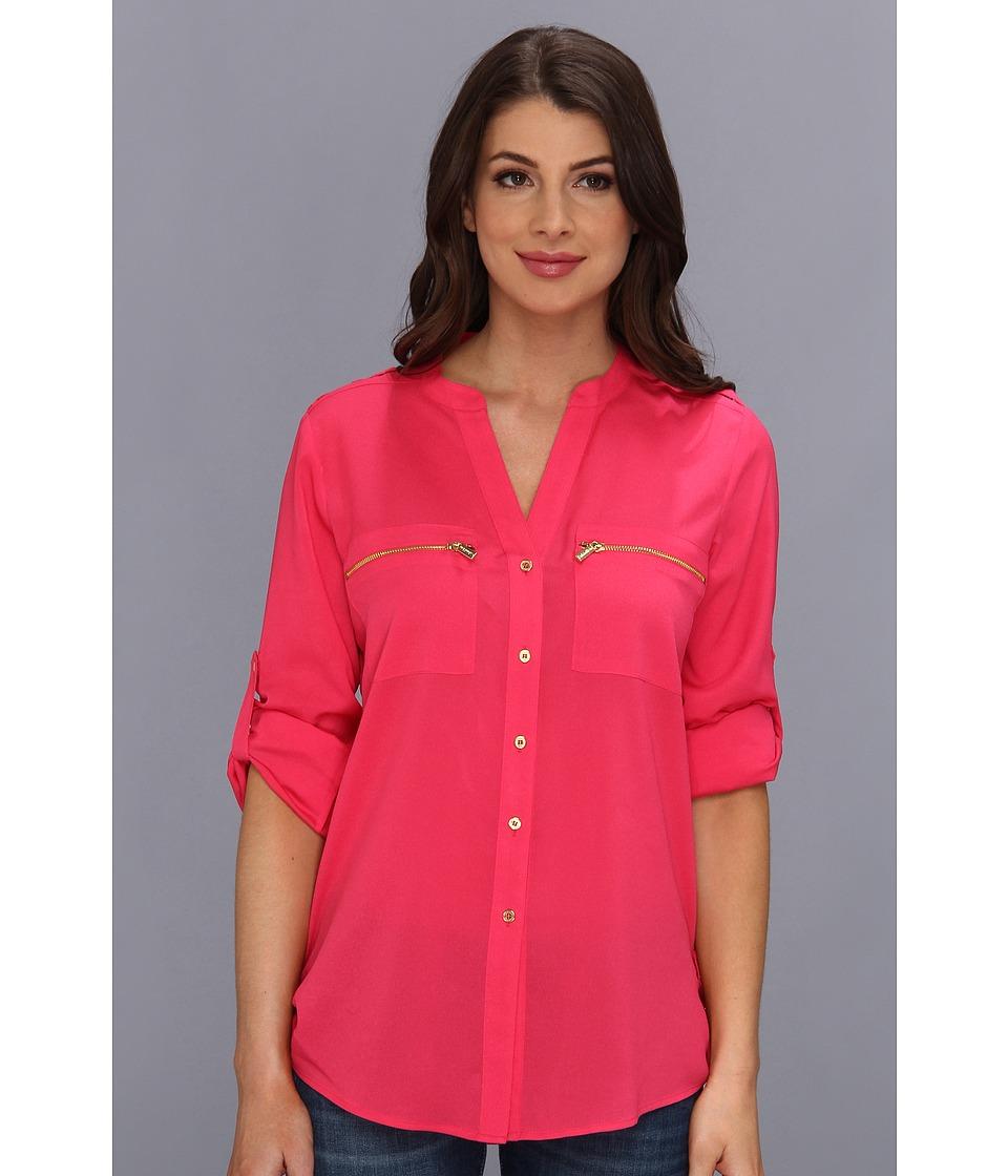 Calvin Klein - Zipper Roll Poly CDC Sleeve (Flamingo) Women's Blouse