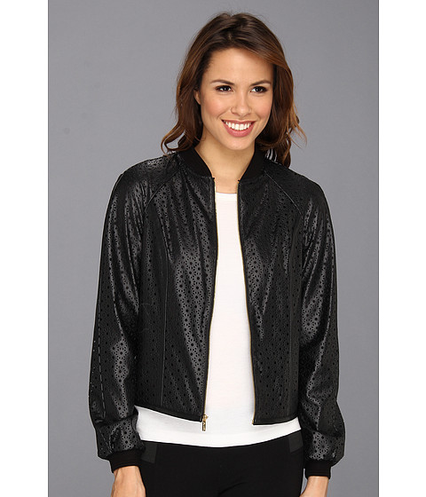 Calvin Klein - Perforated Bomber Jacket M3JCU109 (Black) Women's Jacket