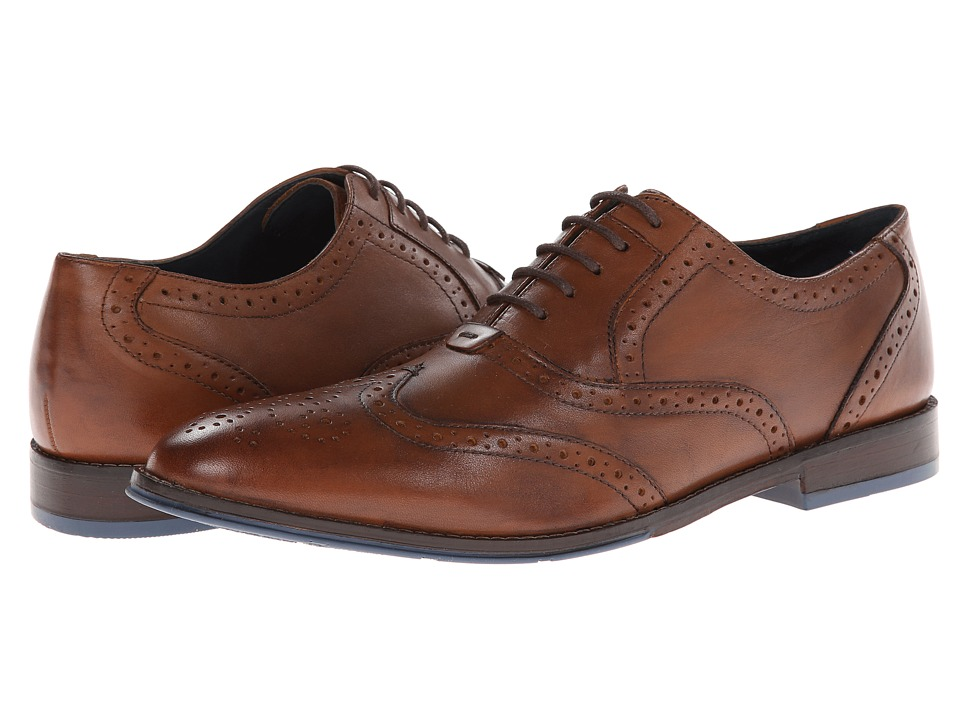 Hush Puppies - Style Brogue (Tan Leather) Men's Lace Up Wing Tip Shoes