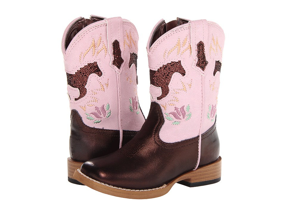 Roper Kids - Bling Chunk Boots w/ Horses (Toddler) (Brown) Girls Shoes