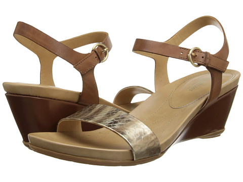 Naturalizer - Salma (Gold Printed Snake/Saddle Tan Leather) Women's Sandals