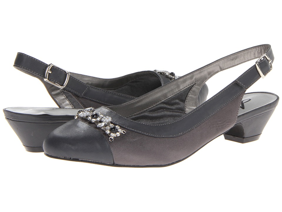 Annie - Dolores (Pewter Satin/Pewter Smooth Faille/Patent) Women's Slip-on Dress Shoes
