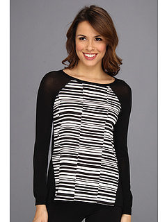 SALE! $66.99 - Save $23 on Calvin Klein Print Woven Panel Sweater M3KS6756 (Black) Apparel - 25.15% OFF $89.50