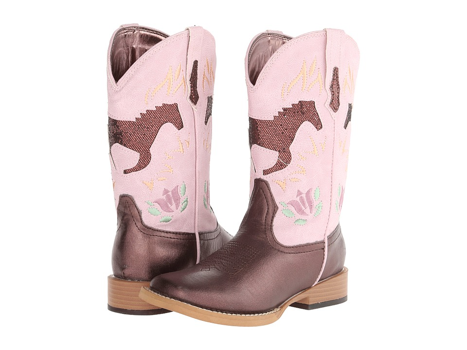 Roper Kids - Bling Chunks w/ Horse (Toddler/Little Kid) (Brown/Pink) Cowboy Boots