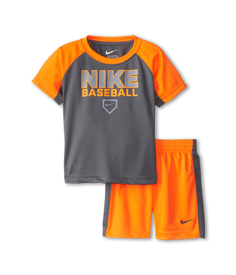 Nike Kids - Nike Baseball Raglan Short Set (Toddler) (Total Orange) Boy