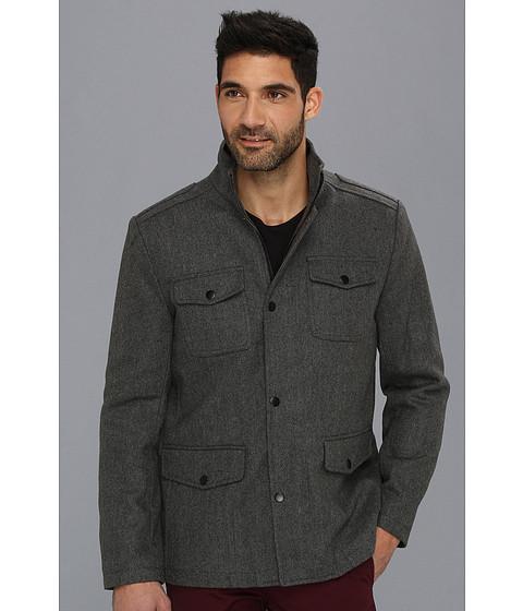 Kenneth Cole New York - Wool Herringbone Field Coat (Grey) Men's Coat