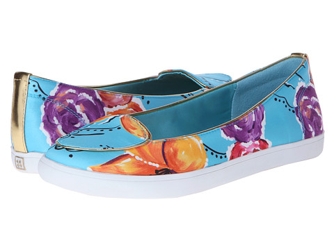 Naturalizer - Bromstad Clara (Blue Floral Print Canvas/Gold Shiny) Women