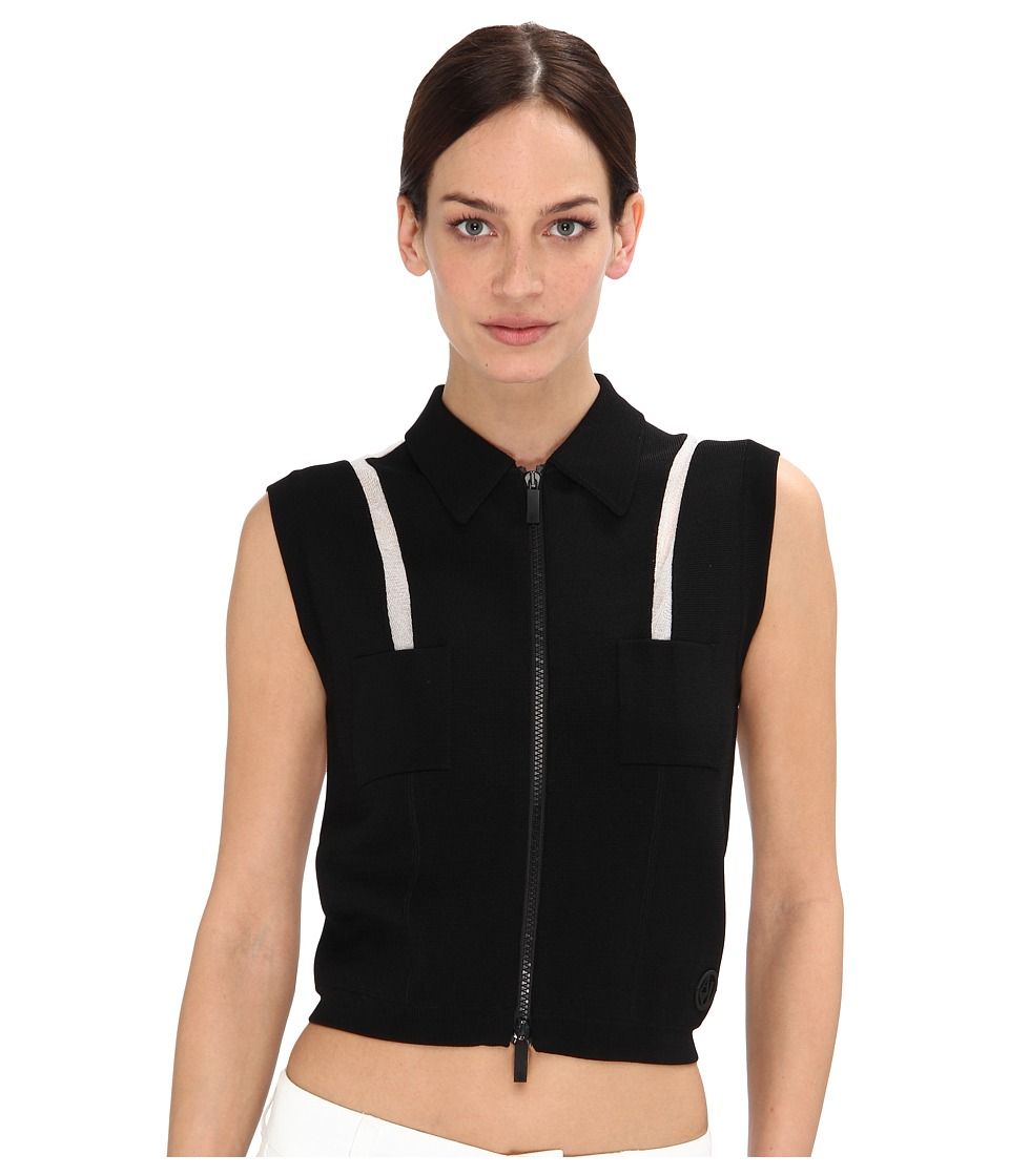 Armani Jeans - Front Zipper w/ Shoulder Detail Vest (Black) Women