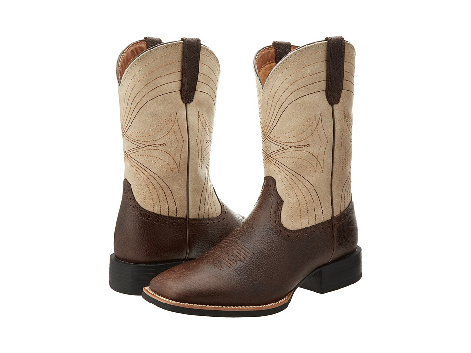 Ariat - Sport Wide Square Toe (Washed Brown/Bone Crackle) Cowboy Boots