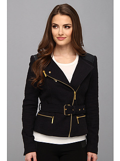 SALE! $119.99 - Save $175 on MICHAEL Michael Kors Petite Tweed Moto w Leather Jacket (Dark Midnight) Apparel - 59.33% OFF $295.00