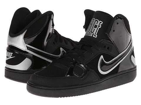 Nike Kids - Son of Force Mid (Big Kid) (Black/Metallic Silver/Black) Boys Shoes