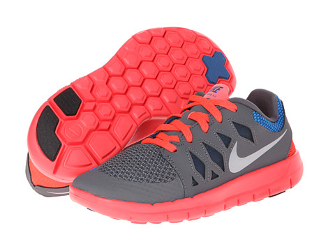 Nike Kids - Free 5 (Little Kid) (Dark Grey/Laser Crimson/Kumquat/White) Kids Shoes