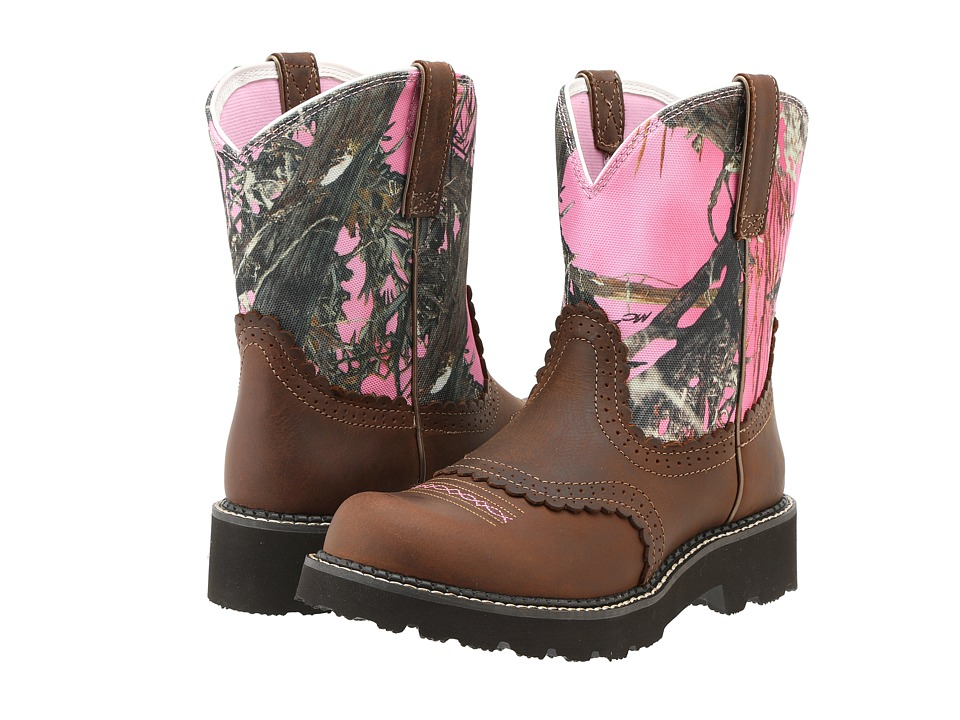 Ariat - Fatbaby Sheila (Tanned Copper/Pink Camo) Cowboy Boots