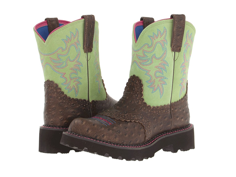 Ariat Fatbaby Sheila (Distressed Ostrich Print/Lime) Cowboy Boots