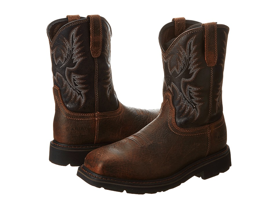 Ariat Sierra Wide Square Toe Puncture Resistant Steel Toe (Earth /Black Crunch) Cowboy Boots