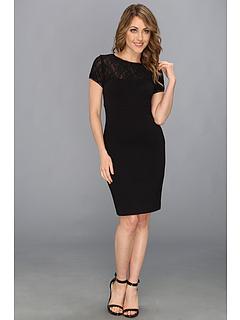 SALE! $144.99 - Save $175 on Nicole Miller Ponte Stretch Lace Dress (Black) Apparel - 54.69% OFF $320.00
