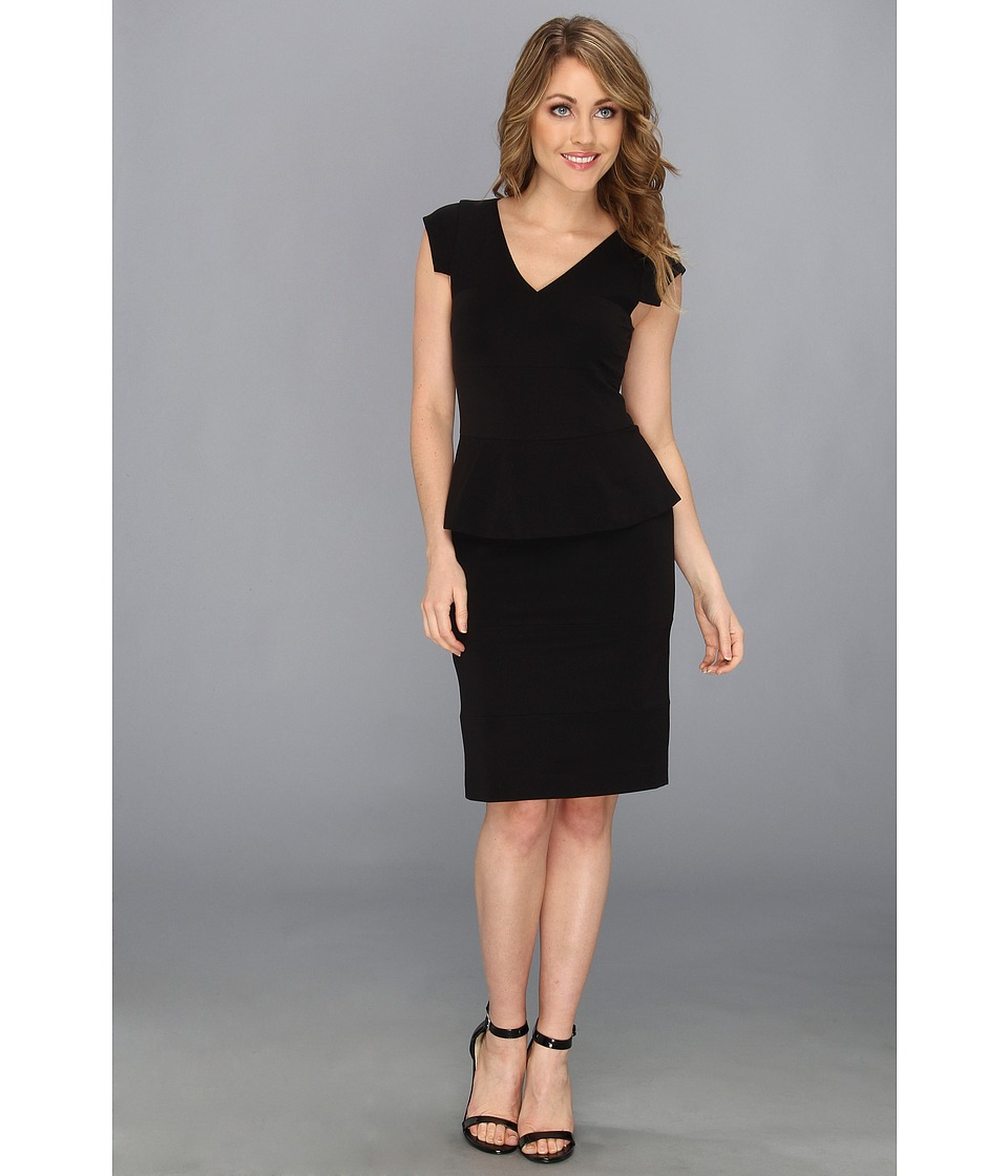 Nicole Miller - Mercerized Ponte Peplum Dress (Black) Women's Dress