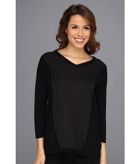 Calvin Klein - V-Neck Pullover Wool Blend (Black) Women's Long Sleeve Pullover