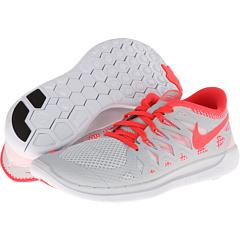 Nike Kids Free 5.0 (Big Kid) (Pure Platinum/White/Laser Crimson) Girls Shoes