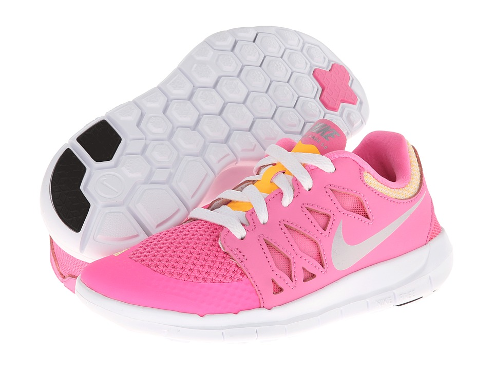 Nike Kids - Free 5 (Little Kid) (Pink Glow/White/Atomic Mango/Metallic Silver) Girls Shoes