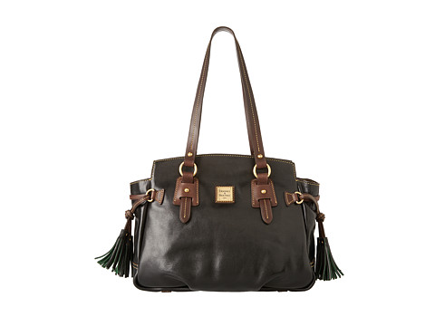 Dooney & Bourke - Toledo Leather Winged Large (Black With T'Moro Trim) Tote Handbags