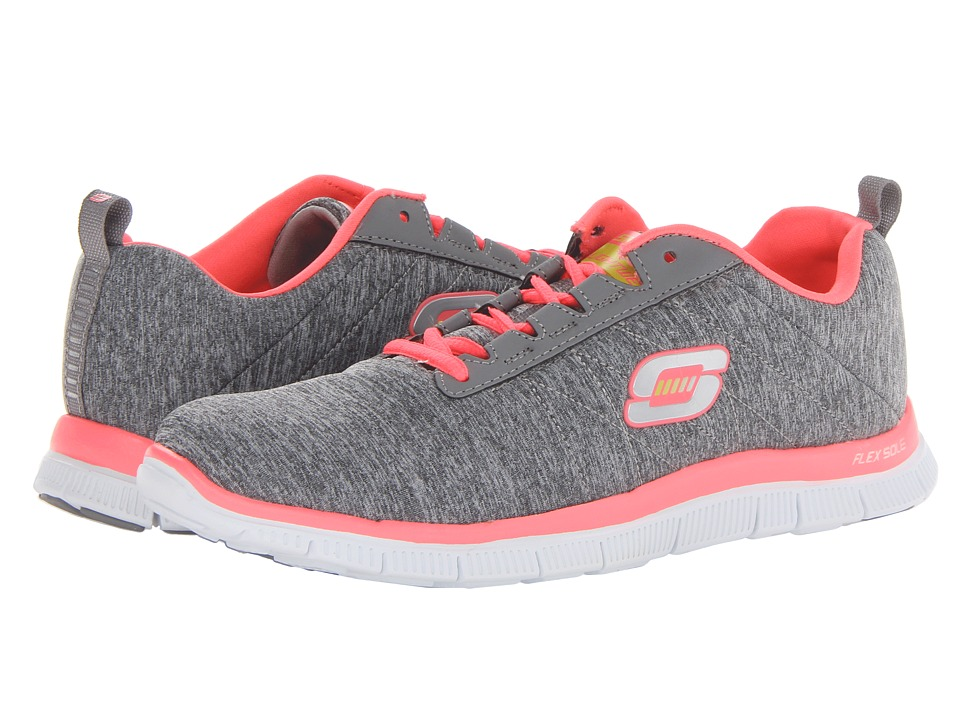SKECHERS - Flex Appeal - Next Generation (Gray/Coral) Women's Lace up casual Shoes