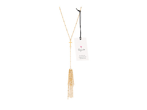 Dogeared - Tassel Cross Necklace (Gold) Necklace