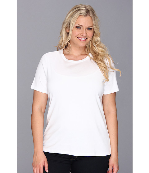 Pendleton - Plus Size S/S Rib Tee (White) Women's Short Sleeve Pullover