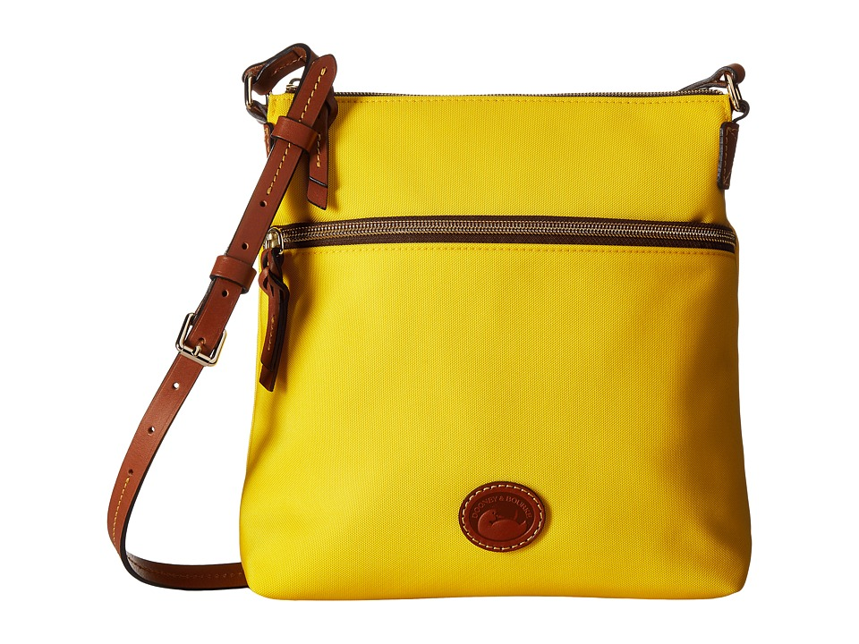 Dooney & Bourke - Nylon Crossbody (Yellow With Tan Trim) Cross Body Handbags