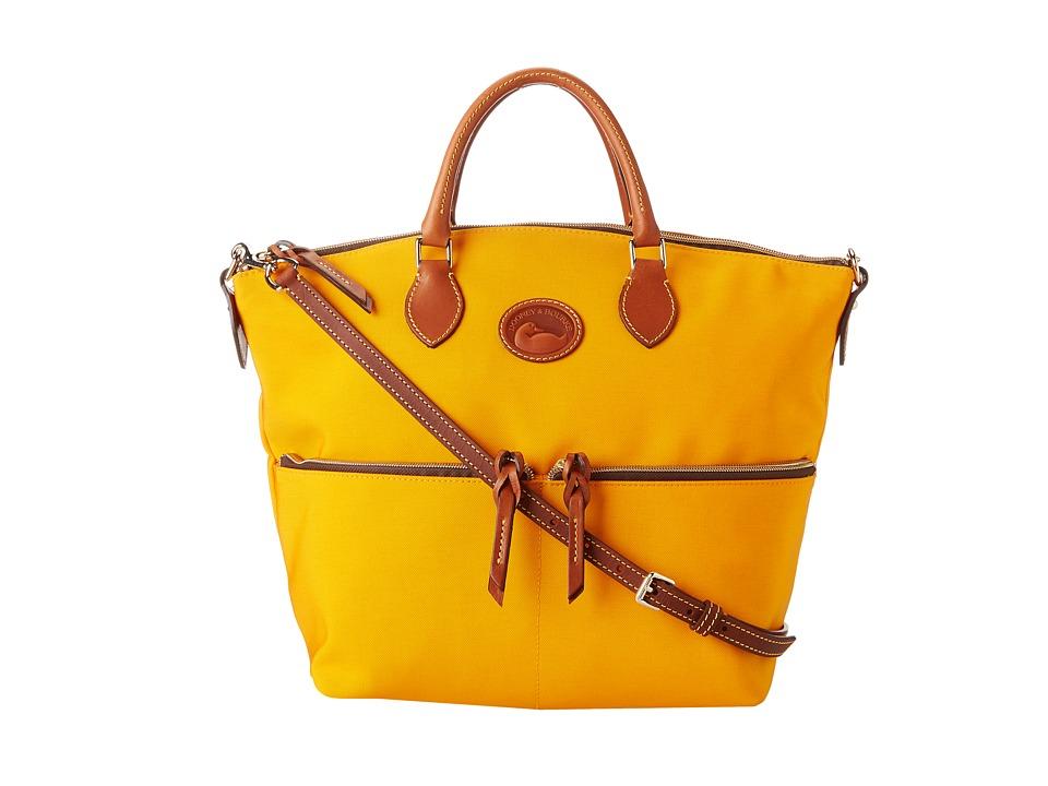 Dooney & Bourke - Nylon Large Pocket Satchel (Orange With Tan Trim) Satchel Handbags