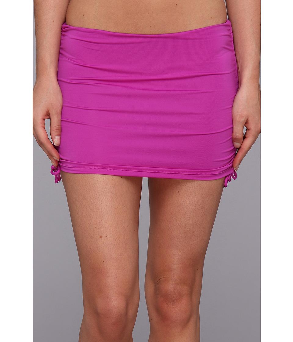 Badgley Mischka - Solids Shirred Skirt (Purple) Women's Swimwear