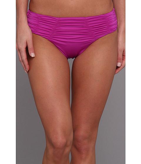 Badgley Mischka - Solids Pin Stitch Shirred Brief (Purple) Women